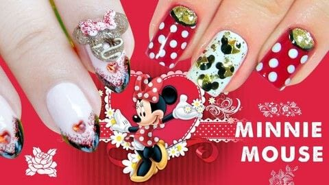 Learn to create some easy Minnie Mouse Nail designs easily! .  Free tutorial with pictures on how to paint a glitter nail in under 30 minutes using nail polish, base coat, and top coat. Inspired by disney. How To posted by Jennifer R.  in the Beauty section Difficulty: Easy. Cost: Cheap. Steps: 1
