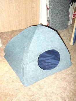 A cheap and easy tent for your furry little friends! .  Free tutorial with pictures on how to make a pet toy in under 120 minutes using t shirt, cardboard, and clothes hanger. How To posted by Jessy.  in the Home + DIY section Difficulty: Simple. Cost: Absolutley free. Steps: 11