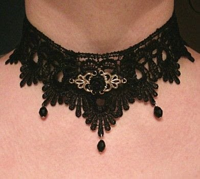 Choker/necklace .  Make a lace choker in under 70 minutes using sewing tools, lace, and jump rings. Inspired by gothic. Creation posted by Crimsaros.  in the Jewelry section Difficulty: 3/5. Cost: 3/5.