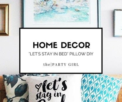 "Make this indigo inspired ""let's stay in bed"" pillow diy .  Free tutorial with pictures on how to make a pillow in under 60 minutes using iron, template, and pillow case. Inspired by homeware. How To posted by The Party Girl.  in the Home + DIY section Difficulty: Simple. Cost: Absolutley free. Steps: 2"