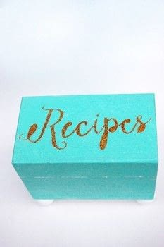 Fill this DIY recipe box with your favourite recipes for a sweet hostess gift! .  Free tutorial with pictures on how to make a recipe holder in under 90 minutes using wooden box, feet, and stencil. Inspired by gifts, kitchen, and homeware. How To posted by The Party Girl.  in the Home + DIY section Difficulty: 3/5. Cost: Absolutley free. Steps: 7