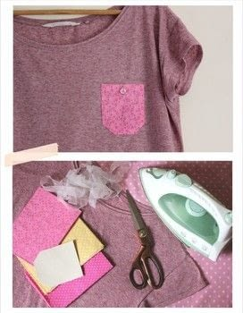 An easy upcycling fashion project .  Free tutorial with pictures on how to make a pocket t-shirt in under 30 minutes by dressmaking with fabric, scissors, and thread. How To posted by Cassiefairy.  in the Sewing section Difficulty: Simple. Cost: Absolutley free. Steps: 6