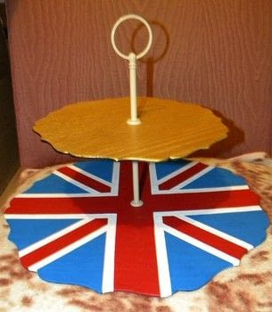 A perfect display for your teatime treats! .  Make a cake stand by creating with cake plate, acrylic paint, and paintbrushes. Inspired by british, cake, and tea. Creation posted by CraftyCat.  in the Decorating section Difficulty: Easy. Cost: Absolutley free.