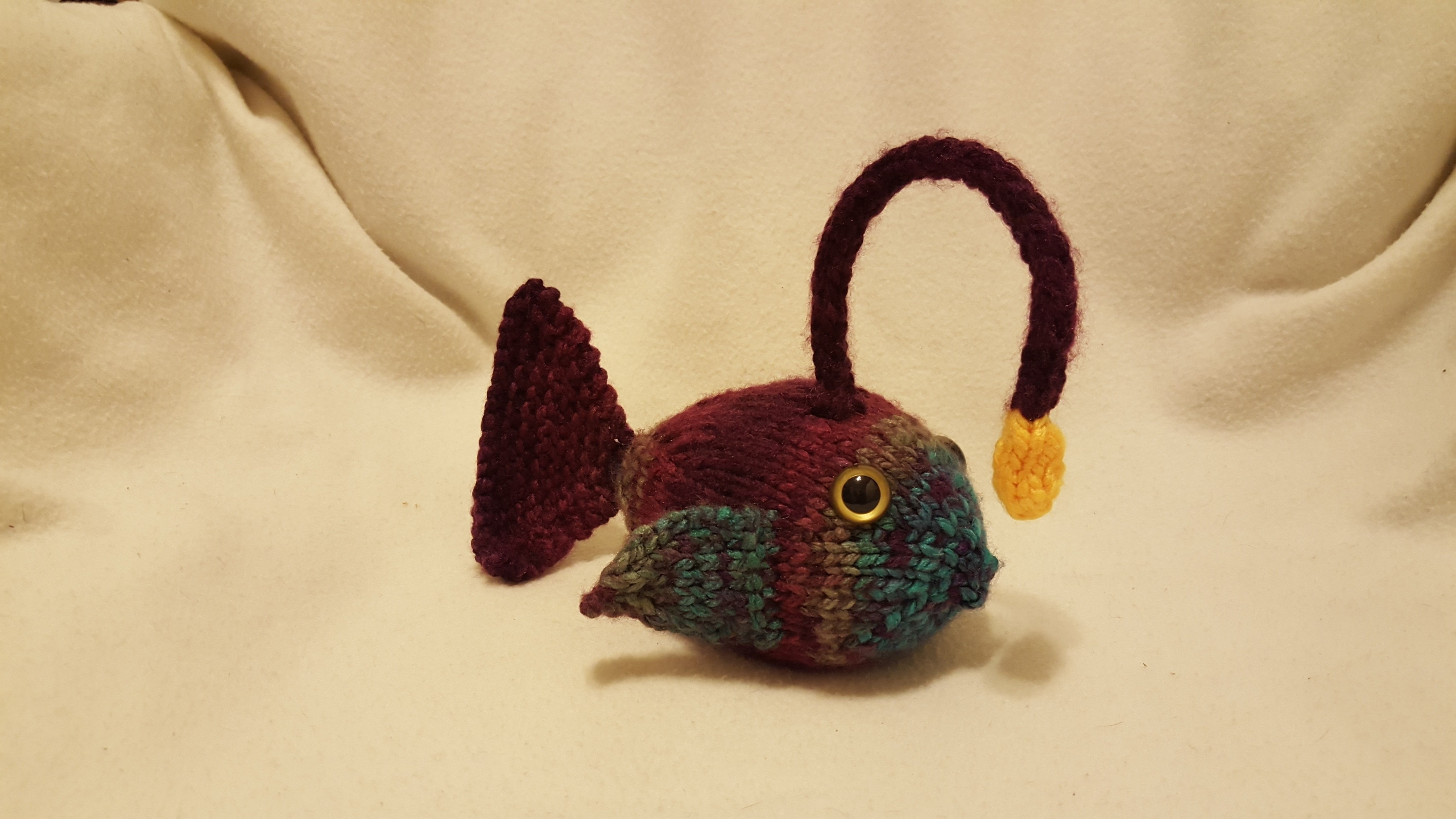 Knitted angler fish plush a fish plushie yarncraft on for Angler fish toy