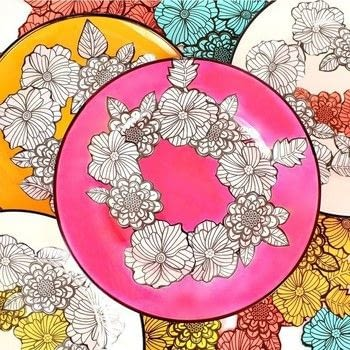 Make Adult Coloring Book Dishes! .  Free tutorial with pictures on how to make a plate in under 60 minutes by decorating, embellishing, papercrafting, collage, decoupaging, and transfering with glassware, decoupage, and book. How To posted by Mark Montano.  in the Home + DIY section Difficulty: Easy. Cost: Absolutley free. Steps: 3