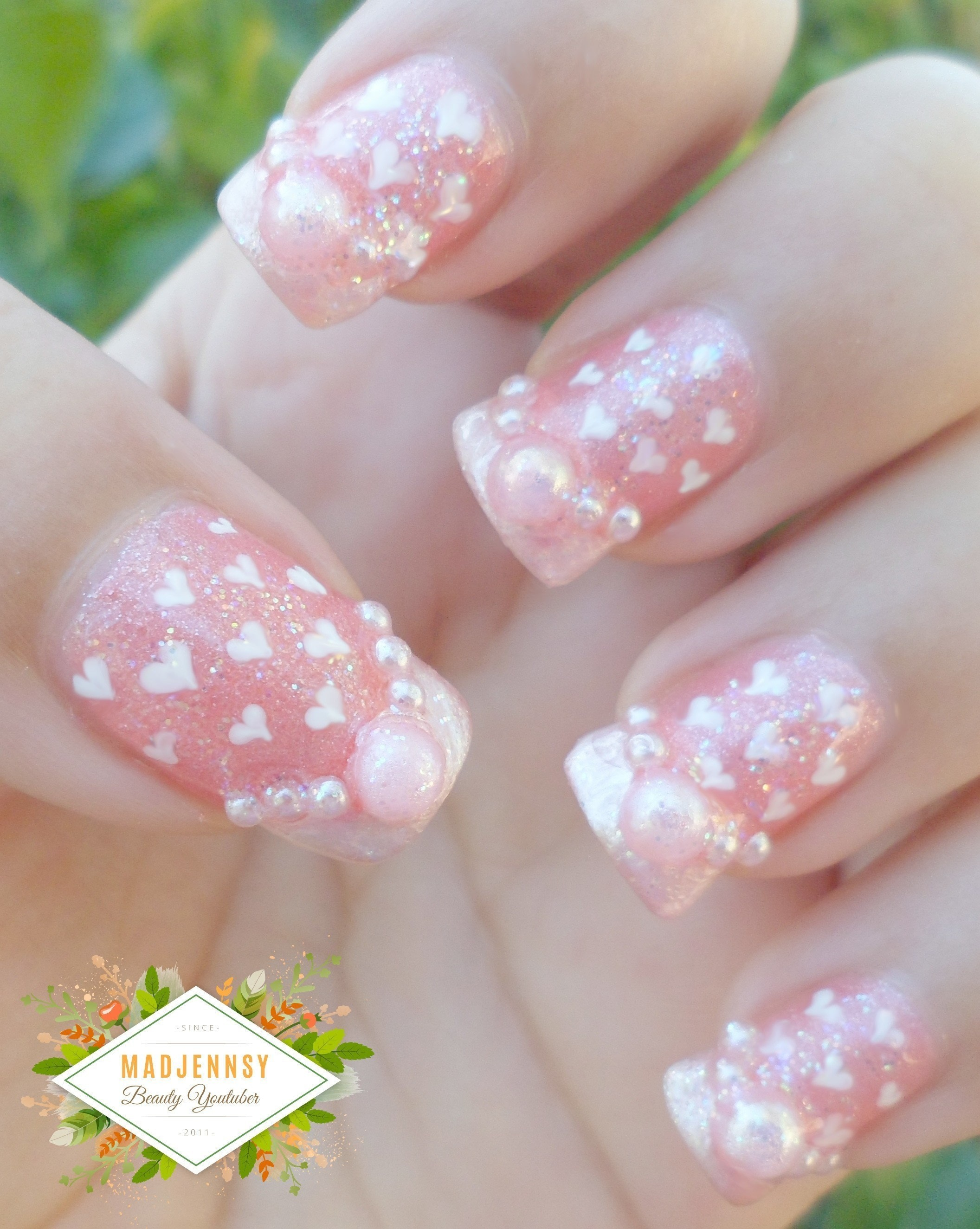 Romantic Hearts Pattern Nail Art Design · How To Paint A Glitter ...