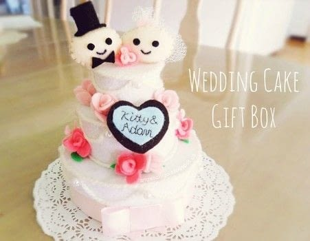 A low cost wedding cake that you can actually keep forever! .  Free tutorial with pictures on how to make a decoration in under 60 minutes using felt. Inspired by for girls, for girlfriends, and weddings. How To posted by angelichigo.  in the Needlework section Difficulty: Easy. Cost: Cheap. Steps: 3