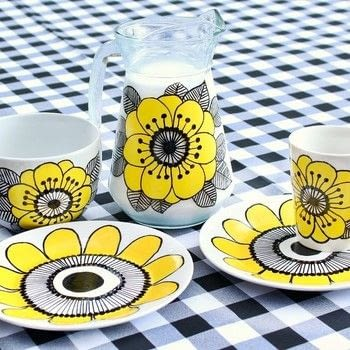 Paint your own Marimekko dishes! .  Free tutorial with pictures on how to make a cup / mug in under 120 minutes by creating, decorating, and embellishing with dollar store dishes, americana gloss enamels, and rubbing alcohol. How To posted by Mark Montano.  in the Decorating section Difficulty: Easy. Cost: Cheap. Steps: 3