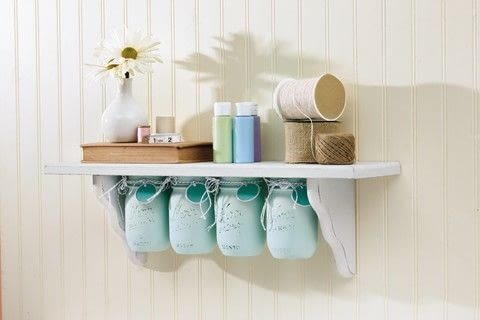 DIY Mason Jar Crafts .  Free tutorial with pictures on how to make a shelf in under 120 minutes by decorating with shelf, size, and americana decor chalky finish paint. How To posted by GMC Group.  in the Home + DIY section Difficulty: Simple. Cost: Cheap. Steps: 9