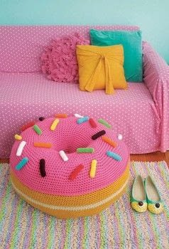 Twinkie Chan's Crocheted Abode a la Mode .  Free tutorial with pictures on how to make a stool in 3 steps by crocheting with crochet hook and yarn. Inspired by donuts. How To posted by Creative Publishing international.  in the Yarncraft section Difficulty: 3/5. Cost: 3/5.