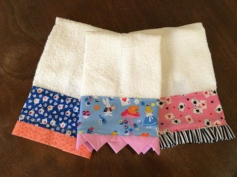 Use fun fabrics to decorate plain towels. .  Free tutorial with pictures on how to make a towel in under 90 minutes by machine sewing with towels, fabrics, and sewing machine. Inspired by alice in wonderland, queen of hearts, and cheshire cat. How To posted by Princess Pam-attitude .  in the Sewing section Difficulty: Easy. Cost: Cheap. Steps: 2