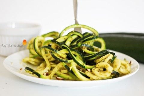 Super quick, easy and delicious1 I used a spiralizer to cut my courgette into swirls, but using a good old knife, or peeler, to cut into thin slices or sticks will work just fine!  .  Free tutorial with pictures on how to cook a pesto pasta in under 10 minutes by cooking with pine nuts, olive oil, and clove. Recipe posted by Nazia A.  in the Recipes section Difficulty: Easy. Cost: Absolutley free. Steps: 4