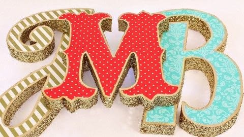 Make marquee letters from trash! .  Free tutorial with pictures on how to make a letter in under 60 minutes by decorating, embellishing, papercrafting, and decoupaging with glitter, styrofoam, and cutter. How To posted by Mark Montano.  in the Decorating section Difficulty: Easy. Cost: 3/5. Steps: 3