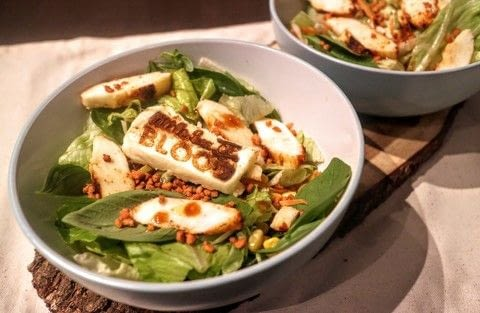 A branded halloumi salad with BBQ dressing .  Free tutorial with pictures on how to make a salad in under 25 minutes by cooking with bbq branding iron, lettuce, and carrot. Recipe posted by Cat Morley.  in the Recipes section Difficulty: Simple. Cost: Cheap. Steps: 9