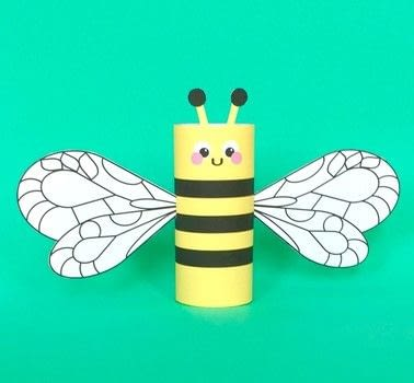 Spring Bumblebee Craft .  Free tutorial with pictures on how to make a paper roll model in under 20 minutes by decorating with scissors, glue, and tape. Inspired by bees. How To posted by John L.  in the Papercraft section Difficulty: Easy. Cost: No cost. Steps: 4