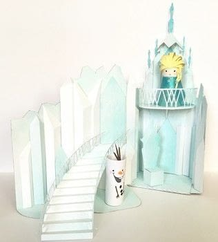 Elsa's Ice Castle Playset .  Free tutorial with pictures on how to make a dolls house in 9 steps using scissors, glitter, and hot glue. Inspired by frozen. How To posted by John L.  in the Papercraft section Difficulty: 4/5. Cost: No cost.