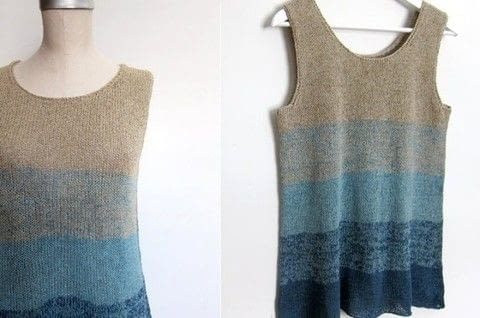 By Mona Schmidt for Espace Tricot .  Free tutorial with pictures on how to make a tank top in 8 steps by knitting with yarn, circular needles, and tapestry needle. Inspired by ombre. How To posted by Shop Showcase.  in the Yarncraft section Difficulty: 3/5. Cost: 3/5.