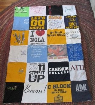 Full instructions for an easy-sew t-shirt quilt! .  Free tutorial with pictures on how to recycle a t-shirt quilt in 15 steps by sewing and patchworking with t-shirts, fabric, and ruler. How To posted by Justine.  in the Sewing section Difficulty: 3/5. Cost: 3/5.
