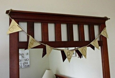 DIY motivational banner! .  Free tutorial with pictures on how to make bunting in under 30 minutes by decorating with cardboard, hole punch, and acrylic paint. How To posted by Justine.  in the Decorating section Difficulty: Simple. Cost: Absolutley free. Steps: 6