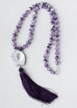 Learn how-to make a Druzy Tassel Necklace with Cherry Tree Beads in Asheville .  Free tutorial with pictures on how to make a tassel necklace in under 60 minutes by jewelrymaking with amethyst, crystals, and tassel. How To posted by Shop Showcase.  in the Jewelry section Difficulty: Simple. Cost: Cheap. Steps: 7