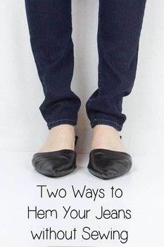 HOW TO HEM JEANS FOR BEGINNERS  .  Free tutorial with pictures on how to sew a pair of skinny jeans in under 10 minutes using scissors. Inspired by style and clothes & accessories. How To posted by elementsofellis.  in the Other section Difficulty: Easy. Cost: No cost. Steps: 4