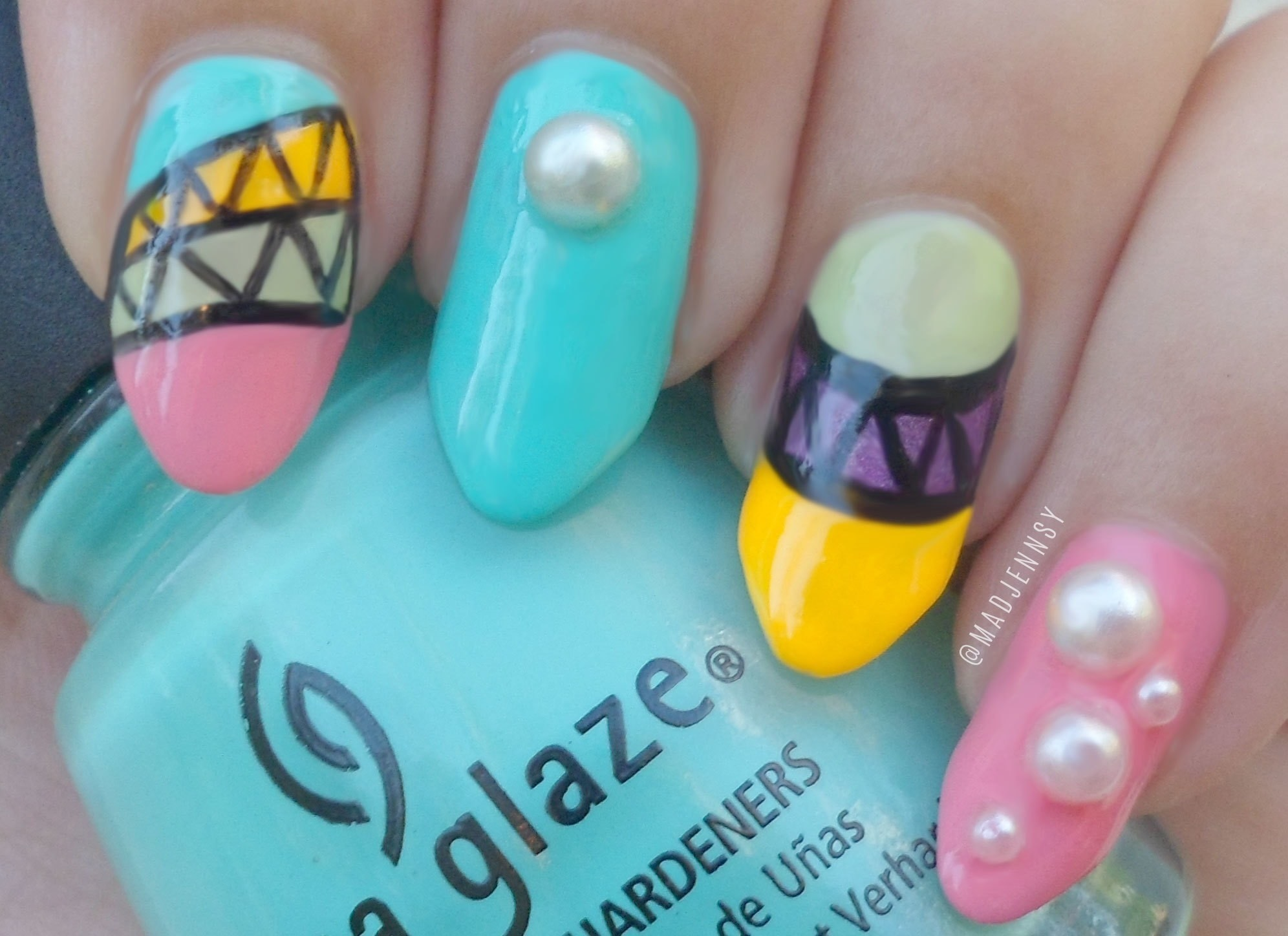 Japanese Tribal Neon Nail Art · How To Paint A Character Nail ...