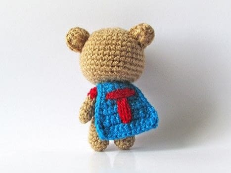 Crochet a tiny superhero .  Free tutorial with pictures on how to make a bear plushie in under 90 minutes by crocheting and amigurumi with fingering weight yarn, crochet thread, and crochet hook. How To posted by Tales of Twisted Fibers.  in the Yarncraft section Difficulty: Easy. Cost: Absolutley free. Steps: 11