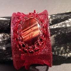 Wire Mesh And Red Tigers Eye