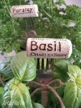 Create unique plant markers using wine corks & forks. .  Free tutorial with pictures on how to make a plant marker in under 60 minutes by decorating and gardening with twine, wood burner, and wine corks. How To posted by Virginia B.  in the Other section Difficulty: Simple. Cost: Absolutley free. Steps: 3
