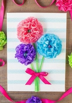 Give the gift that keeps on giving! .  Free tutorial with pictures on how to make wall decor in under 30 minutes using canvas, tissue paper, and pipe cleaners. Inspired by flowers. How To posted by Young At Heart Mommy.  in the Papercraft section Difficulty: Easy. Cost: 3/5. Steps: 7
