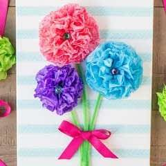 Tissue Paper Flower Bouquet Canvas