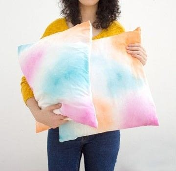 Colorfull watercolor room decor .  Free tutorial with pictures on how to make a pillow in under 30 minutes using fabric, acrylic paint, and paintbrushes. How To posted by CurlyMade.  in the Decorating section Difficulty: Simple. Cost: Absolutley free. Steps: 1
