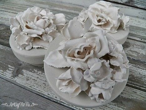 Create Faux porcelain flowers with Plaster Of Paris .  Free tutorial with pictures on how to mold a clay flower in under 180 minutes by decorating with fabric flower, plaster of paris, and tin cutters. How To posted by Virginia B.  in the Other section Difficulty: Simple. Cost: Cheap. Steps: 6