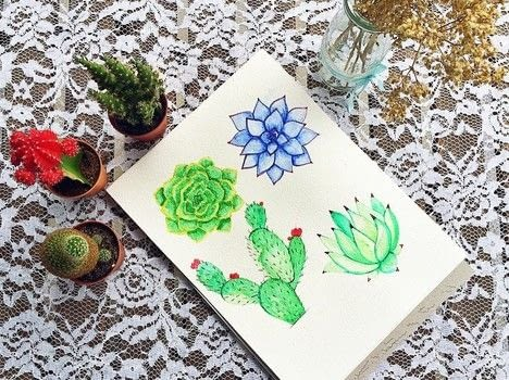 Learn to create two different dessert blooms with this step by step tutorial .  Free tutorial with pictures on how to paint a piece of watercolor art in under 90 minutes by creating with watercolor paint, watercolor paper, and paint brush. Inspired by cactus. How To posted by Drishti D.  in the Art section Difficulty: 4/5. Cost: Cheap. Steps: 10