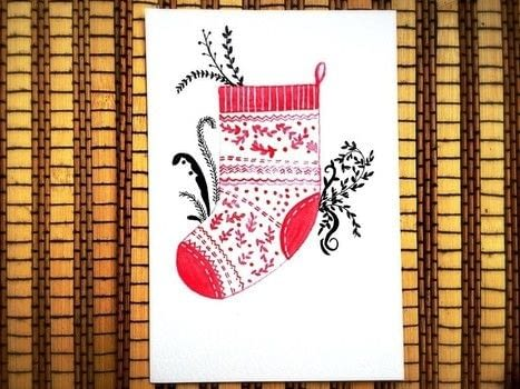Learn to create this cute little red winter sock nursery illustration. .  Free tutorial with pictures on how to paint a piece of watercolor art in under 60 minutes using paint, pencil, and gel pen. How To posted by Drishti D.  in the Art section Difficulty: Simple. Cost: Absolutley free. Steps: 5