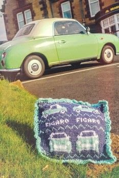 A Nissan Figaro stitch cushion for our car! .  Free tutorial with pictures on how to stitch a knit or crochet cushion in 5 steps by crocheting and knitting with yarn, yarn, and yarn. Inspired by nissan figaro. How To posted by Cat Morley.  in the Yarncraft section Difficulty: Simple. Cost: Cheap.