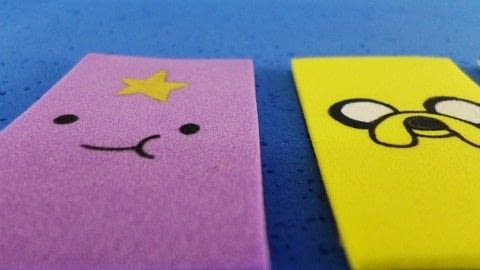 Make Adventure Time magnets! .  Free tutorial with pictures on how to make a recycled magnet in under 30 minutes by transfering with scissors, pencil, and pencil. Inspired by adventure time. How To posted by bora FAZER.  in the Other section Difficulty: Simple. Cost: Cheap. Steps: 1