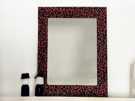 .  Free tutorial with pictures on how to make a table mirror in under 15 minutes by decorating, embellishing, and not sewing with fabric, scissors, and white glue. Inspired by floral. How To posted by BlackRedDots.  in the Decorating section Difficulty: Easy. Cost: Absolutley free. Steps: 5