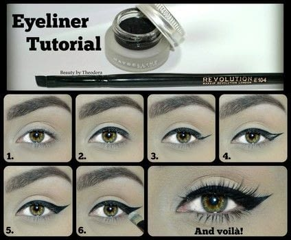 Easy step-by-step tutorial for the perfect winged liner! .  Free tutorial with pictures on how to create a winged eye look in under 10 minutes by applying makeup and applying makeup with gel eye liner, angled brush, and patience. How To posted by Theodora C. R.  in the Beauty section Difficulty: 3/5. Cost: Absolutley free. Steps: 6