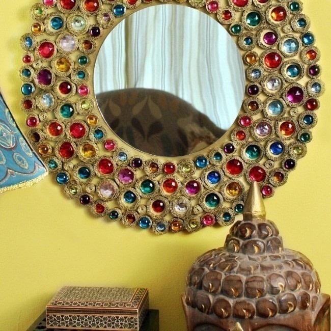 bejeweled boho cardboard mirror how to make a wall mirror home