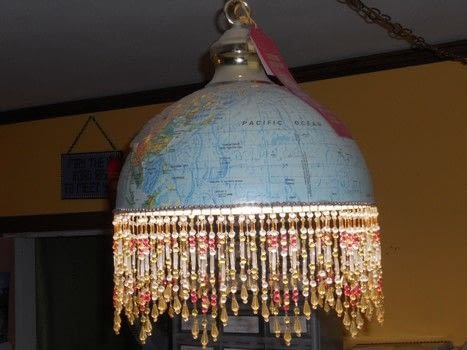 Don't mind the dust! I made this awhile ago and wanted to show it off! .  Make a lamp / lampshade in under 150 minutes using craft knife, trim, and globe. Creation posted by Pammie.  in the Home + DIY section Difficulty: Simple. Cost: Cheap.