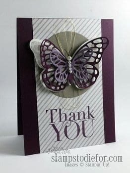 "Beautiful 3D Butterfly Card .  Free tutorial with pictures on how to make a stamped card in under 20 minutes by papercrafting, stamping, and  with all supplies stampin' up!, stamp, and elegant eggplant 4 1/4"" x 1"" & 3"" x 4"". How To posted by Patsy W.  in the Papercraft section Difficulty: Easy. Cost: No cost. Steps: 6"