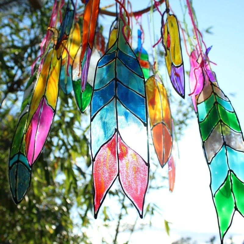 Faux Stained Glass Feathers 183 How To Make A Mobile 183 Art