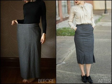 This skirt refashion is so easy and perfect for a vintage style outfit. .  Free tutorial with pictures on how to make a high-waisted skirt in under 35 minutes using scissors and sewing machine. Inspired by vintage & retro. How To posted by The Sassy Sparrow.  in the Sewing section Difficulty: Easy. Cost: Absolutley free. Steps: 3