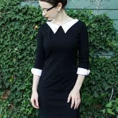 Diy Black And White Lapelled Dress