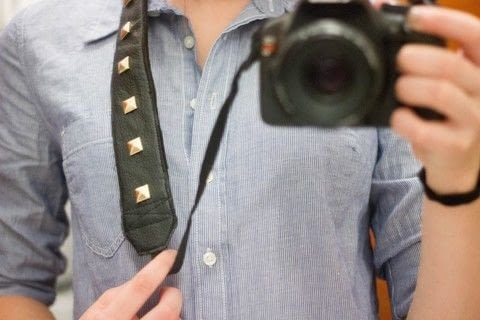 This is an awesome way to spice up your camera strap! .  Free tutorial with pictures on how to make a camera strap in under 45 minutes using scissors, sewing machine, and studs. Inspired by camera. How To posted by The Sassy Sparrow.  in the Sewing section Difficulty: Easy. Cost: Absolutley free. Steps: 6