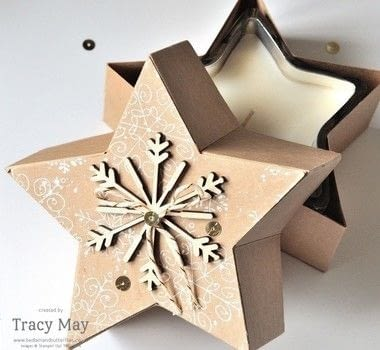 Star shaped gift box .  Free tutorial with pictures on how to make a shaped box in under 60 minutes by papercrafting with die cutting machine, cardstock, and stars framelits dies. Inspired by stars. How To posted by Bedlam & Butterflies.  in the Papercraft section Difficulty: 3/5. Cost: Cheap. Steps: 7