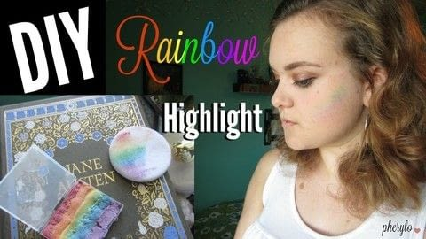 Feel magical while wearing this DIY rainbow highlight .  Free tutorial with pictures on how to make your own highlighter makeup in under 60 minutes using eyeshadow, container, and cornstarch. Inspired by rainbow. How To posted by Cheryl .  in the Beauty section Difficulty: Simple. Cost: Absolutley free. Steps: 1