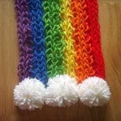 Finger-Knitted Rainbow Scarf