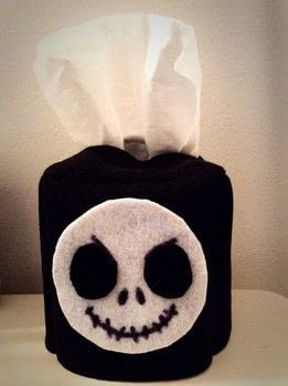 Easy and cute way to personalise your own tissue box cover! .  Free tutorial with pictures on how to make stationery in under 35 minutes by sewing, hand sewing, and machine sewing with felt, felt, and sharpie marker. Inspired by disney, nightmare before christmas, and jack skellington. How To posted by RandomActsOfCreations.  in the Other section Difficulty: Simple. Cost: 3/5. Steps: 8